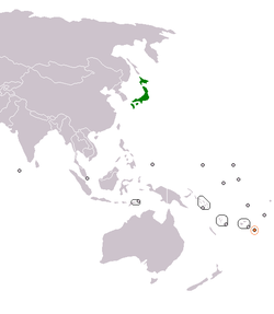 Map indicating locations of Japan and Tonga