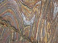 Jaspilite banded iron formation (Soudan Iron-Formation, Neoarchean, ~2.69 Ga; Stuntz Bay Road outcrop, Soudan Underground State Park, Soudan, Minnesota, USA) 25 (19199703606).jpg