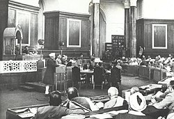 Jawaharlal Nehru addressing the constituent assembly in 1946