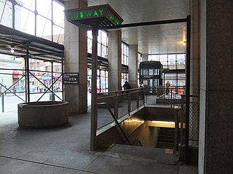 370 Jay Street - An entrance to the Jay Street–MetroTech subway complex within the arcade of 370 Jay Street.