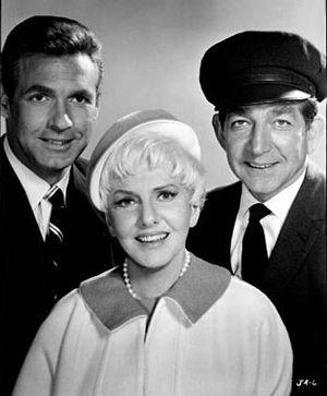 Leonard Stone - Cast of The Jean Arthur Show: Leonard Stone (right) with Ron Harper (left) and Jean Arthur (center)