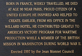 Jean Monnet - Memory plaque set up by the Jean Monnet Council after his death
