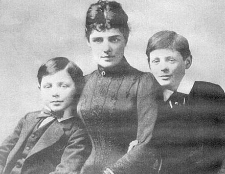 Jennie Spencer Churchill with her two sons, John and Winston, 1889. Jennie Churchill with her sons.jpg