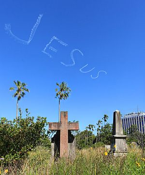 Skywriting - Image: Jesus sky writing over gore hill cemetery