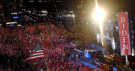 Biden is nominated as the Democratic vice presidential candidate during the third night of the 2008 Democratic National Convention in Denver, Colorado. Joe Biden nomination DNC 2008.jpg