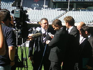 Joe Hockey - Hockey at a press conference on the ground at Docklands Stadium, Melbourne