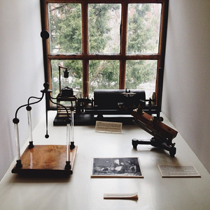 John Hay Library - A selection of historical objects displayed in the window of the Special Collections area of the Brown University John Hay Library.