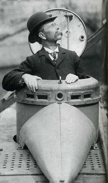 John Phillip Holland in a submarine
