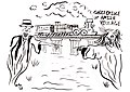 John Miller 1937 drawing of Amish village ghost bridge in Pinecraft Sarasota Florida.jpg