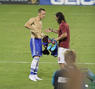Dani Osvaldo - Osvaldo shakes hands with John Terry after a pre-season friendly against Chelsea in 2013