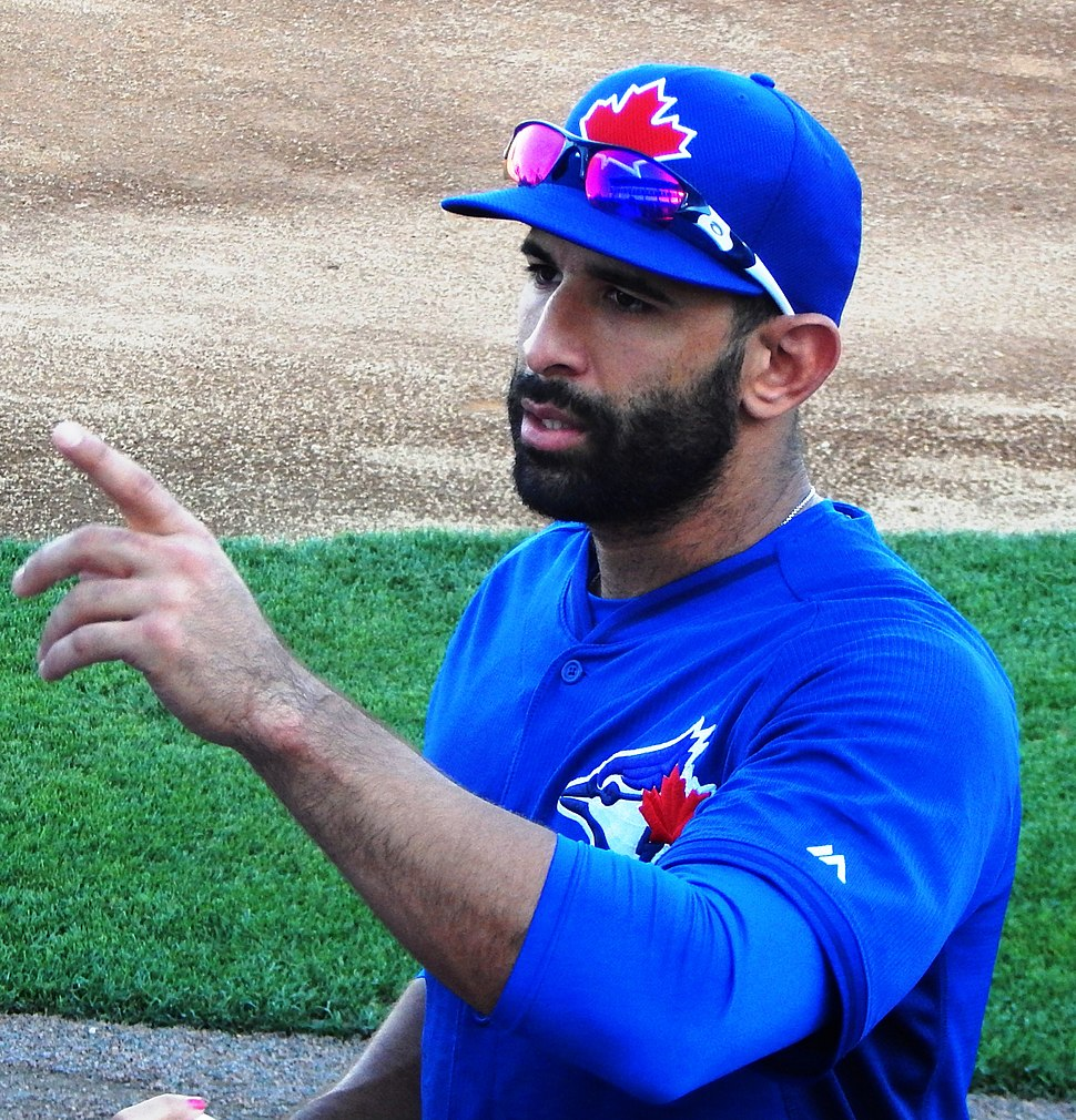Jose Bautista talking to fans before a Spring Training Game