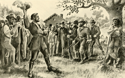 Joe Meek appeals for the American flag, at Champoeg, May 2, 1843. Joseph Meek from Centennial History of Oregon.png