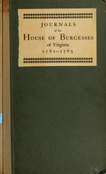 File:Journals of the House of Burgesses of Virginia, 1761-1765.djvu