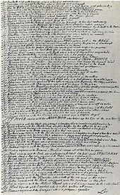 "Handwritten manuscript of a page with about a hundred lines, each a sentence beginning with the word ""Let"""