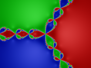Newton fractal - Julia set for the rational function associated to Newton's method for ƒ:z→z3−1.