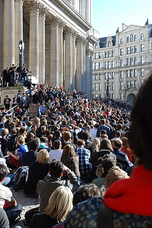 Julian Assange - Assange speaks on the steps of St Paul's Cathedral in London, 16 October 2011
