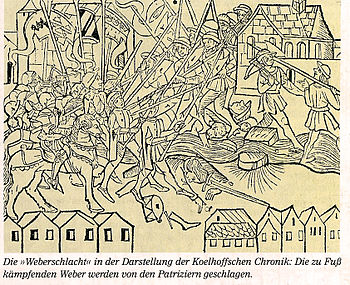 Weberschlacht, 1371 (woodcut from Koehlhoff's chronicle, August 1499)