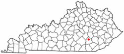 Location of East Bernstadt, Kentucky