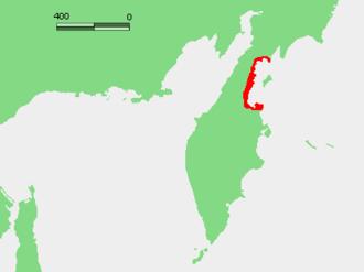 Korfa Bay - The red outlines Karaginsky Bay. To the northeast is Korfa Bay and then Olyutorsky Bay
