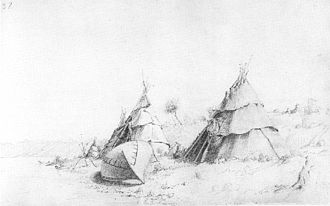 Paul Kane - Ojibwa camp at the shores of Georgian Bay; a typical field sketch of Kane's from his first trip 1845
