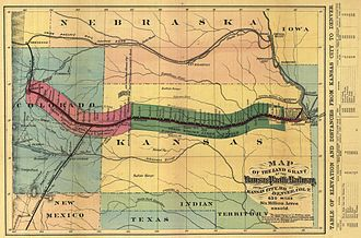 Kansas Pacific Railway - The Kansas Pacific main line shown on an 1869 map. The thickened portion along the line indicates the extent of the land grants available to settlers. At the time of the map, the line extended only as far as western Kansas (section in green). The extension to the Colorado Territory (section in red) was completed the following year