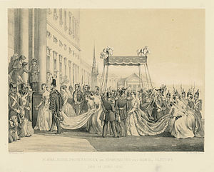 Louise of the Netherlands - Charles XV and Louise of Orange Nassau betrothal in 1850. Returning home to the castle