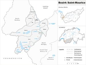 Saint-Maurice District - Image: Karte Bezirk Saint Maurice 2007