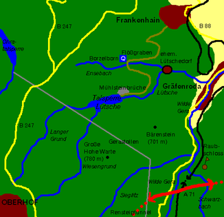 Course of the Lütsche and its tributaries