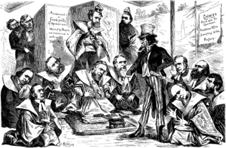 Colfax was castigated for his involvement in the Credit Mobilier scandal in this March 6, 1873 political cartoon in which Uncle Sam is shown encouraging Colfax to commit hara-kiri. Keppler Credit Mobilier Hari-Kari.png