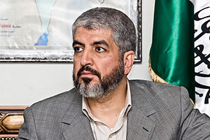 English: Khaled Meshaal in a meeting with span...