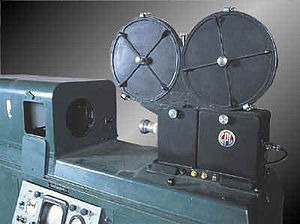 Kinescope - A PA-302 General Precision Laboratories (GPL) kinescope (c.1950–1955). Its movie film camera, bolted to the top of the cabinet, used Kodak optics.