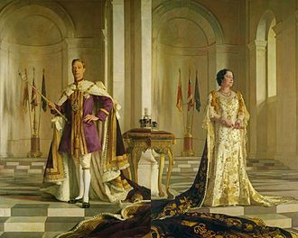 Coronation of King George VI and Queen Elizabeth - The King and Queen in their coronation robes