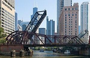 Chicago flood - Kinzie Street Bridge
