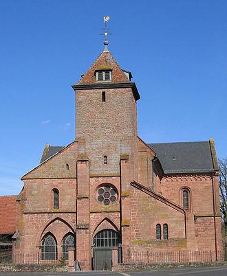 Enkenbach-Alsenborn - Image: Klosterkirche Enkenbach Westseite von Hans Buch