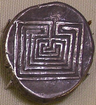 "Labyrinth - Silver coin from Knossos displaying the 7-course ""Classical"" design to represent the Labyrinth, 400 BC."