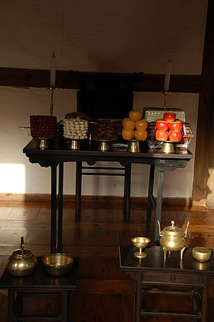 "Death anniversary - A jesasang (제사상), literally ""death anniversary table""; a table used in Korean death anniversary ceremonies"