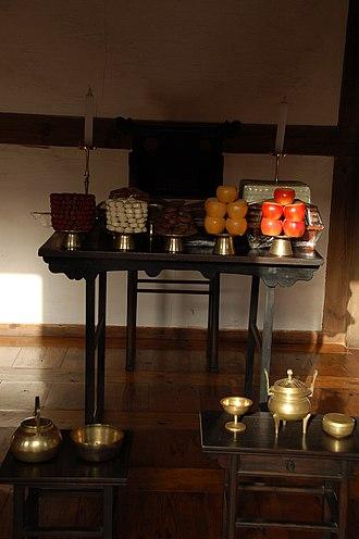 "Death anniversary - A jesasang (제사상), literally ""death anniversary table""; a table used in Korean death anniversary ceremonies"