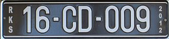 Vehicle registration plates of Kosovo - Image: Kosovo CD license plate