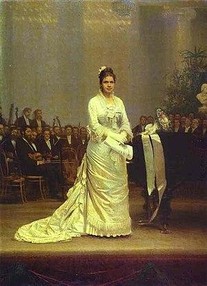 Yelizaveta Lavrovskaya - Portrait of the Singer Elizaveta Lavrovskaya on Stage, 1878, by Ivan Kramskoy.