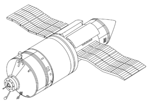 Kvant-1 - Kvant-1 (on the left) attached to the FSM orbital tug.