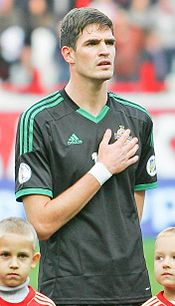 Kyle Lafferty representing Northern Ireland against Russia in FIFA World Cup qualifier in 2012.