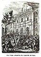 La turba arrastra el cuerpo del general Basa por las calles de Barcelona. Grabado del.jpg
