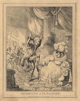 Sir Matthew Wood, 1st Baronet - Moments of Pleasure - a satirical engraving by Theodore Lane showing Lady Anne Hamilton; Sir Matthew Wood, 1st Baronet and Caroline of Brunswick