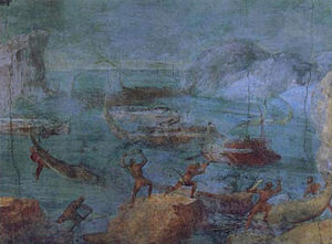 "Laestrygonians - The fourth panel of the so-called ""Odyssey Landscapes"" wall painting from the Vatican Museum in Rome, 60–40 B.C.E."