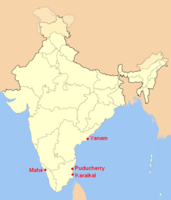 Location of Puducherry (marked in red) in India