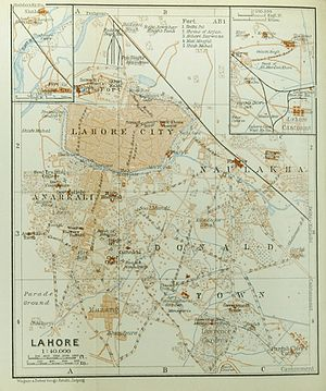 Lahore - Map of the Old City and environs. The Cantonment not shown (only partly on the small inserted map in the upper right corner)