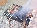 Lamb's meat, tomatoes and eggplants on the mangal in Azerbaijan.jpg