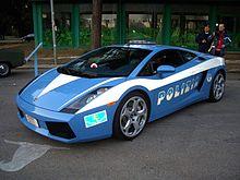 Una Lamborghini Gallardo in dotazione