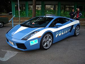 History of the Italian State Police - The Lamborghini Gallardo, supplied with the Traffic Police on duty to supervise Salerno-Reggio Calabria highway.