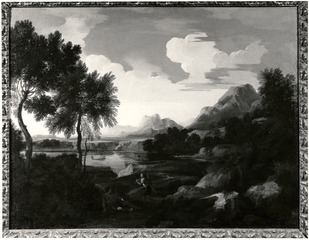 Landscape with Huntsmen, Mountains and a Lake